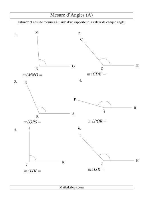 La Mesure d'angles entre 90° et 180° (A) Fiche d'Exercices sur la Mesure