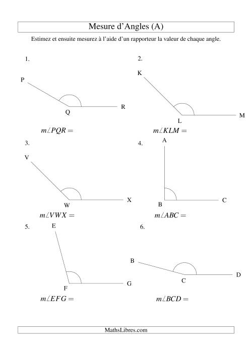 La Mesure d'angles entre 90° et 180° (intervalles de 15°) (A) Fiche d'Exercices sur la Mesure