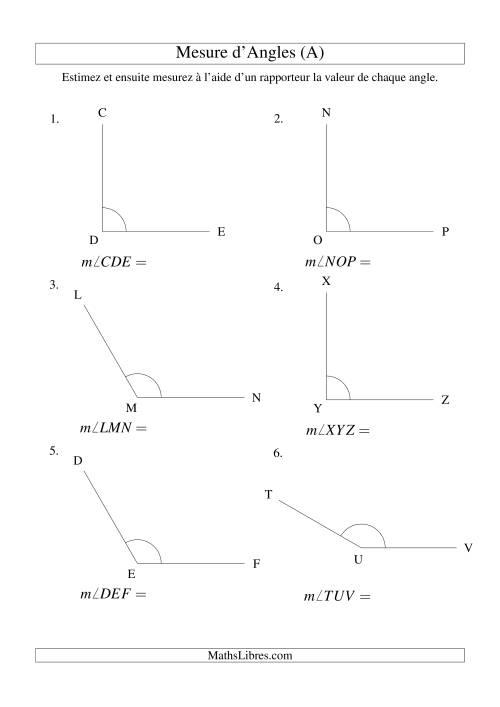 La Mesure d'angles entre 90° et 180° (intervalles de 30°) (A) Fiche d'Exercices sur la Mesure