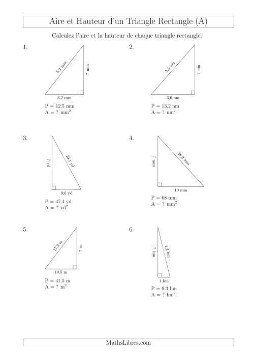 Calcul de l'Aire et Hauteur d'un Triangle Rectangle (A)