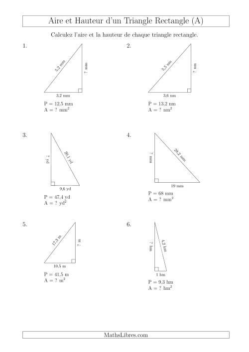 La Calcul de l'Aire et Hauteur d'un Triangle Rectangle (A) Fiche d'Exercices sur les Mesures
