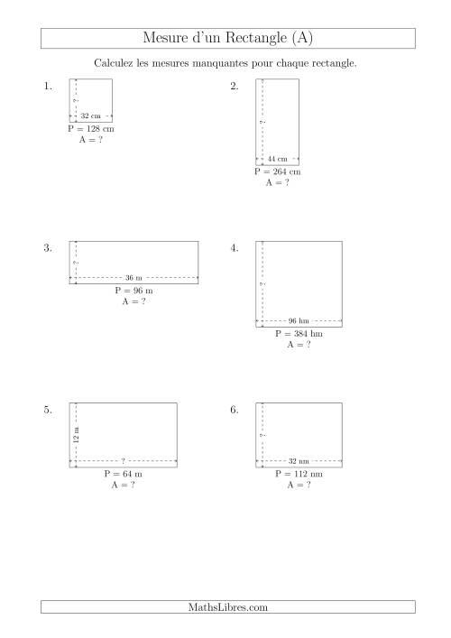 La Calcul de l'Aire, Longueur ou Largeur des Rectangles (Avec de Larges Nombres Entiers) (A) Fiche d'Exercices sur les Mesures