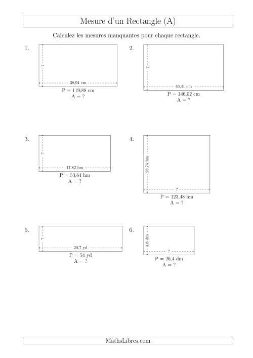 La Calcul de l'Aire, Longueur ou Largeur des Rectangles (Avec des Nombres Décimaux) (A) Fiche d'Exercices sur les Mesures