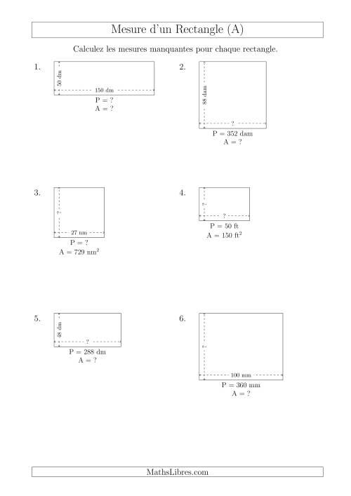 La Calcul de l'Aire, Périmètre, Longueur ou Largeur des Rectangles (Avec de Larges Nombres Entiers) (A) Fiche d'Exercices sur les Mesures