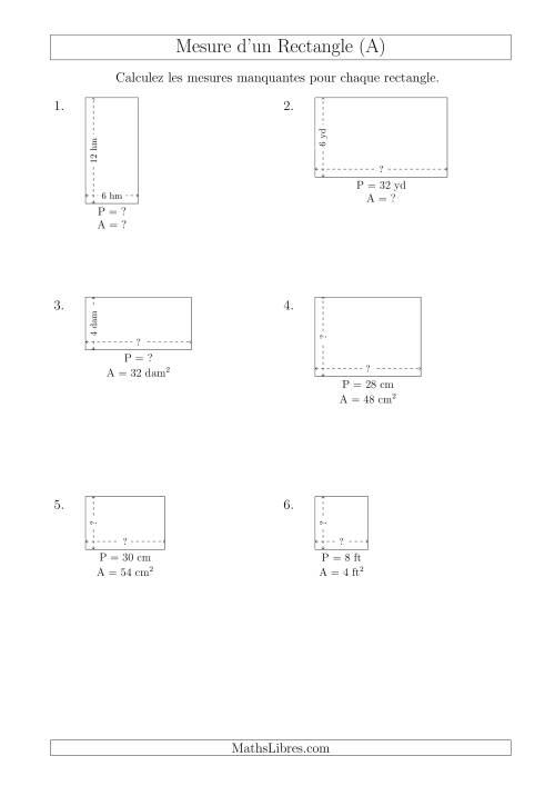 La Calcul de l'Aire, Périmètre, Longueur ou Largeur des Rectangles (Avec de Petits Nombres Entiers) (A) Fiche d'Exercices sur les Mesures