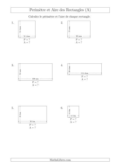La Calcul du Périmètre et de l'Aire des Rectangles (Avec de Larges Nombres Entiers) (A) Fiche d'Exercices sur les Mesures