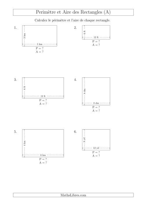 La Calcul du Périmètre et de l'Aire des Rectangles (Avec de Petits Nombres Entiers) (A) Fiche d'Exercices sur les Mesures