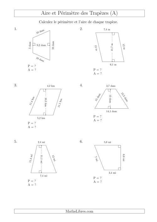 La Calcul de l'Aire et du Périmètre des Trapèzes (Plus Petits Nombres) (A) Fiche d'Exercices sur les Mesures