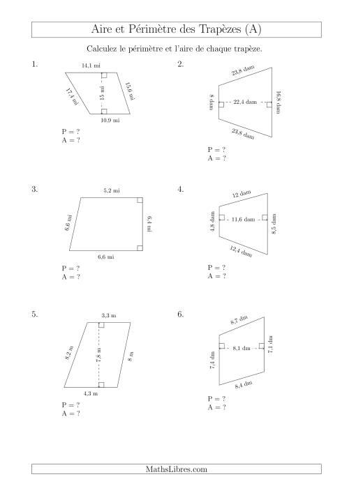 La Calcul de l'Aire et du Périmètre des Trapèzes (Plus Grands Nombres) (A) Fiche d'Exercices sur les Mesures
