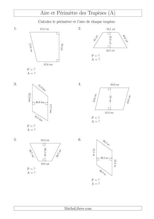 La Calcul de l'Aire et du Périmètre des Trapèzes (Nombres Mêmes Plus Grands) (A) Fiche d'Exercices sur les Mesures