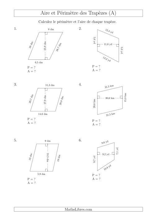 La Calcul de l'Aire et du Périmètre des Trapèzes Scalènes (A) Fiche d'Exercices sur les Mesures