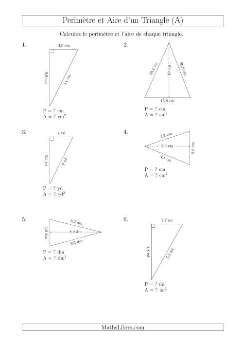 La Calcul de l'Aire et du Périmètre des Triangles Aigu et Rectangle (En Rotation) (A) Fiche d'Exercices sur les Mesures