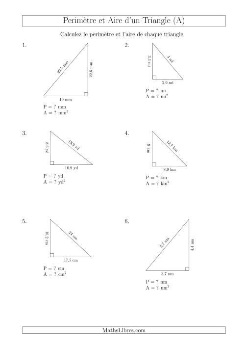 La Calcul de l'Aire et du Périmètre d'un Triangle Rectangle (En Rotation) (A) Fiche d'Exercices sur les Mesures