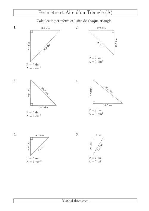 Calcul de l'Aire et du Périmètre d'un Triangle Rectangle (A)