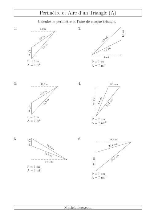 La Calcul de l'Aire et du Périmètre d'un Triangle Obtusangle (En Rotation) (A) Fiche d'Exercices sur les Mesures