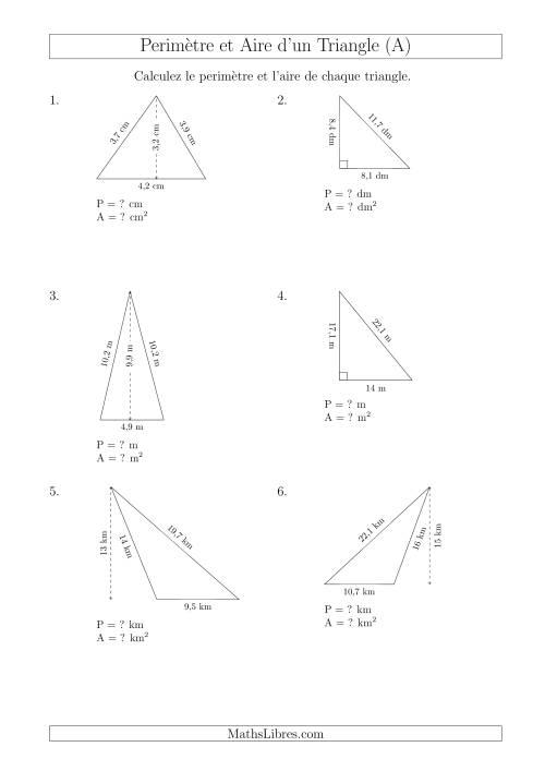 La Calcul de l'Aire et du Périmètre des Triangles Divers (A) Fiche d'Exercices sur les Mesures