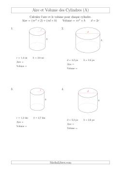 Calcul de l 39 aire et du volume des cylindres avec de petits - Calcul volume litre ...