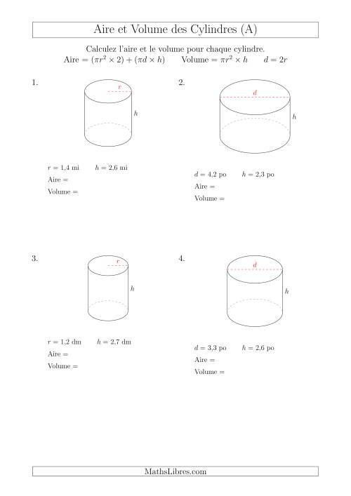 La Calcul de l'Aire et du Volume des Cylindres avec de Petits Nombres (A) Fiche d'Exercices sur les Mesures