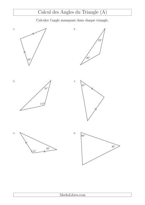 La Calcul des Angles d'un triangle en Tenant Compte des Autres Angles (A) Fiche d'Exercices sur les Mesures