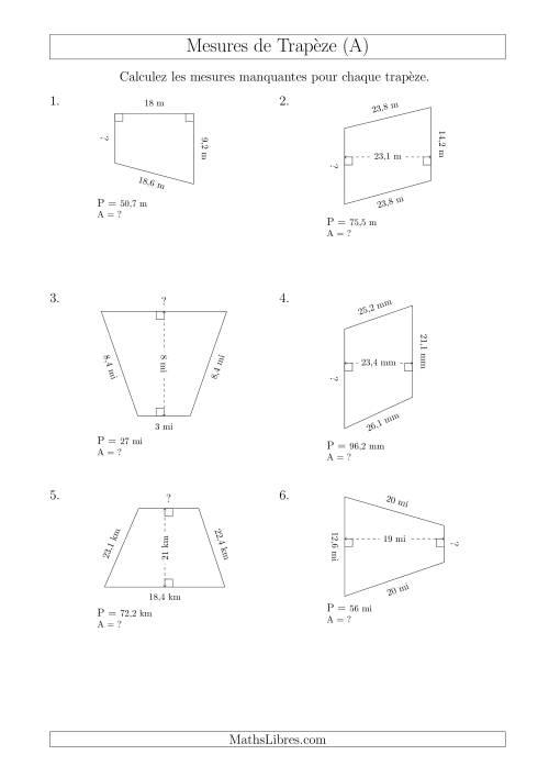 La Calcul de la Base et l'Aire des Trapèzes (A) Fiche d'Exercices sur les Mesures