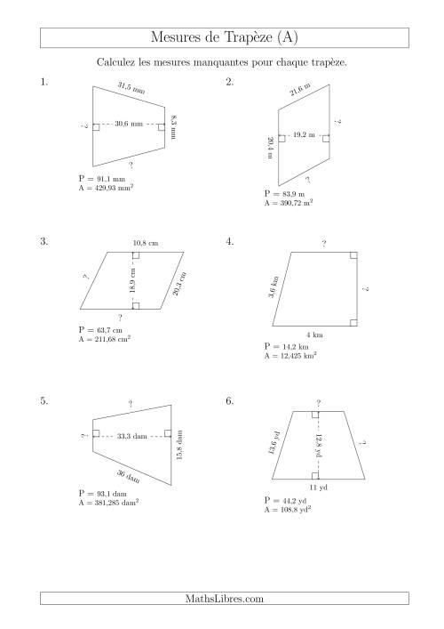 La Calcul de la Base et Côtés des Trapèzes (A) Fiche d'Exercices sur les Mesures