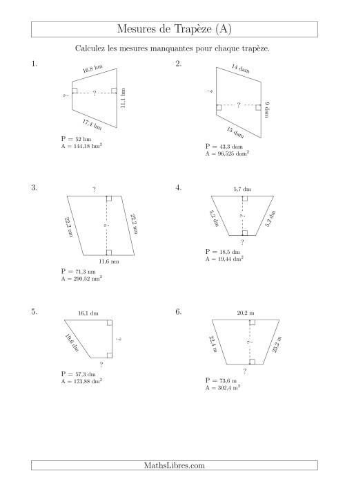 La Calcul de la Base et la Hauetur des Trapèzes (A) Fiche d'Exercices sur les Mesures
