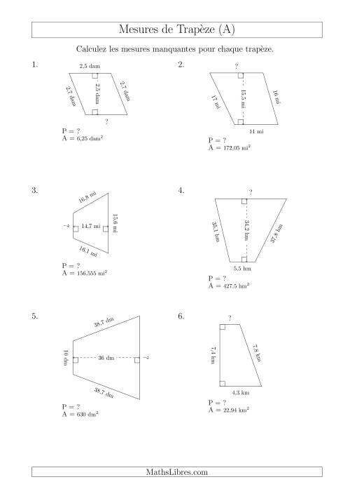 La Calcul de la Base et du Périmètre des Trapèzes (A) Fiche d'Exercices sur les Mesures