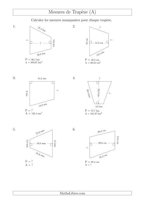 La Calcul de Divreses Mesures des Trapèzes (A) Fiche d'Exercices sur les Mesures