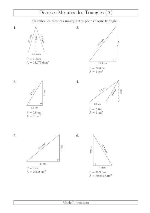 La Calcul de Divreses Mesures des Triangles (A) Fiche d'Exercices sur les Mesures