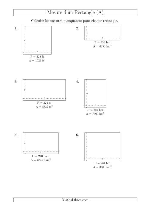 La Calcul de la Longueur et la Largeur des Rectangles (Avec de Larges Nombres Entiers) (A) Fiche d'Exercices sur les Mesures