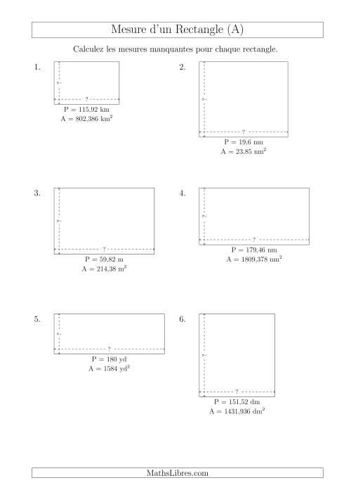 La Calcul de la Longueur et la Largeur des Rectangles (Avec des Nombres Décimaux) (A) Fiche d'Exercices sur les Mesures