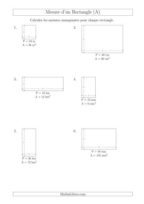 La Calcul de la Longueur et la Largeur des Rectangles (Avec de Petits Nombres Entiers) (A) Fiche d'Exercices sur les Mesures