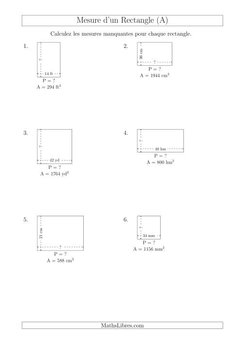 La Calcul du Perimètre, Longueur ou Largeur des Rectangles (Avec de Larges Nombres Entiers) (A) Fiche d'Exercices sur les Mesures