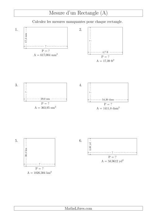 La Calcul du Perimètre, Longueur ou Largeur des Rectangles (Avec des Nombres Décimaux) (A) Fiche d'Exercices sur les Mesures
