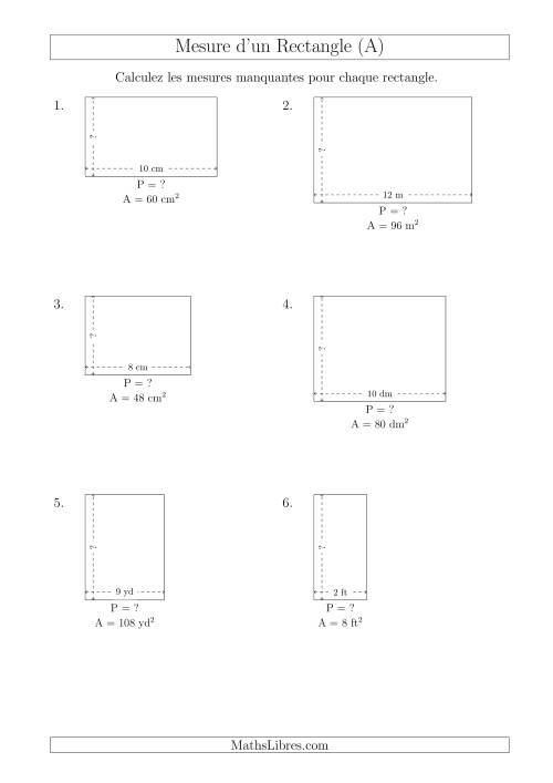 La Calcul de l'Aire, Longueur ou Largeur des Rectangles (Avec de Petits Nombres Entiers) (A) Fiche d'Exercices sur les Mesures