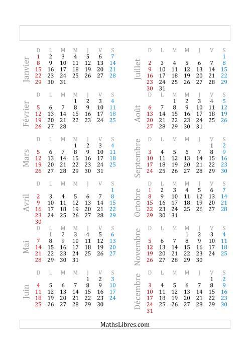 La Calendrier général -- 1 janvier tombant le dimanche (A) Fiche d'Exercices sur la Mesure