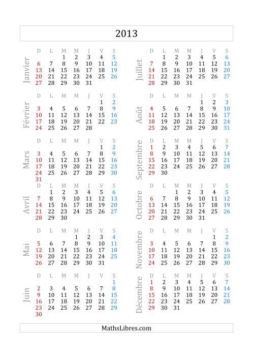 La Calendrier 2013 (A) Fiche d'Exercices sur la Mesure