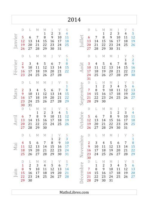 La Calendrier 2014 (A) Fiche d'Exercices sur la Mesure