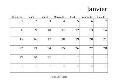 La Calendrier général mensuel -- 1 janvier tombant le dimanche (A) Fiche d'Exercices sur la Mesure