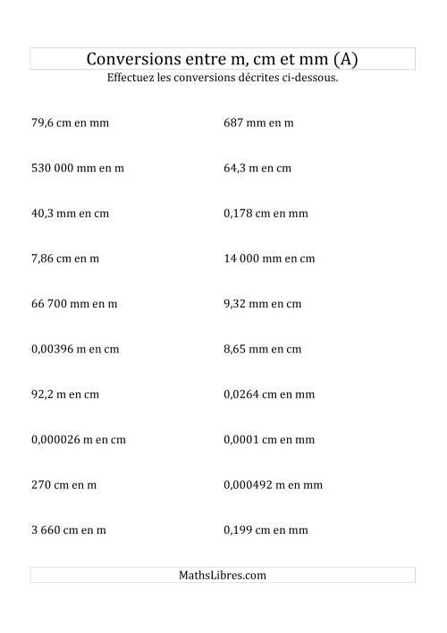 La Conversions métriques -- Mètres, centimètres et millimètres (A) Fiche d'Exercices sur la Mesure