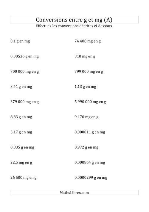 La Conversions métriques -- Grammes et milligrammes (A) Fiche d'Exercices sur la Mesure