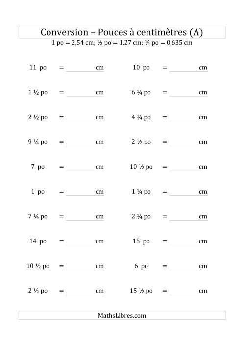 La Conversions métriques/impériales -- Pouces à centimètres (1/4 pouces) (A) Fiche d'Exercices sur la Mesure