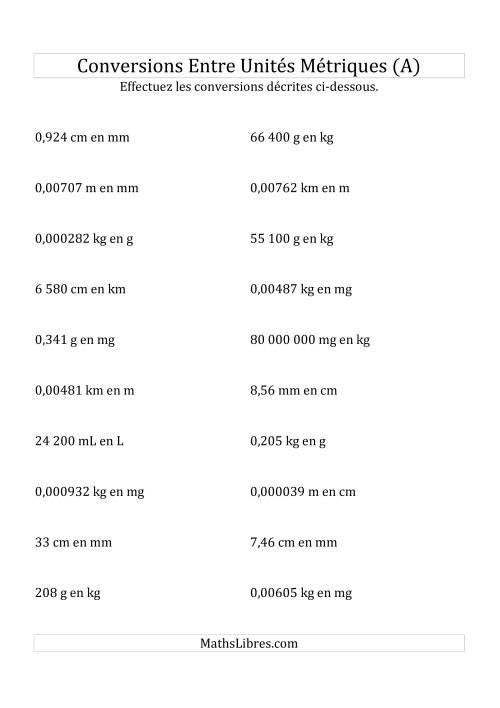 La Conversions métriques -- Toutes unités de longueur, de masse et de volume (A) Fiche d'Exercices sur la Mesure