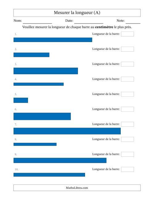 La Mesurer la longueur d'un segment de droite (cm près) (A) Fiche d'Exercices sur la Mesure