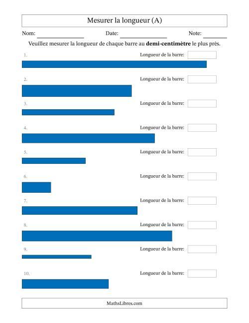 La Mesurer la longueur d'un segment de droite (1/2 cm près) (A) Fiche d'Exercices sur la Mesure