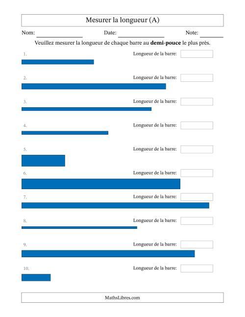 La Mesurer la longueur d'un segment de droite (1/2 po près) (A) Fiche d'Exercices sur la Mesure