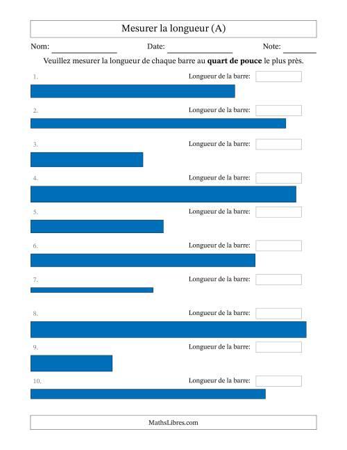 La Mesurer la longueur d'un segment de droite (1/4 po près) (A) Fiche d'Exercices sur la Mesure