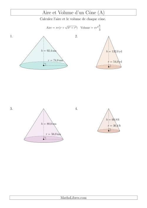 La Calcul de l'Aire et du Volume d'un Cône (Nombres Décimaux au Dixième Près) (A) Fiche d'Exercices sur les Mesures