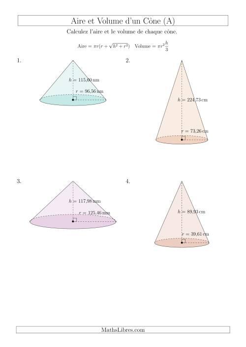 La Calcul de l'Aire et du Volume d'un Cône (Nombres Décimaux au Centième Près) (A) Fiche d'Exercices sur les Mesures
