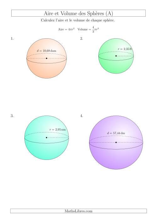 La Calcul de l'Aire et du Volume des Sphères (Nombres Décimaux au Centième Près) (A) Fiche d'Exercices sur les Mesures